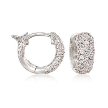 """.25 ct. t.w. CZ Huggie Hoop Earrings in Sterling Silver. 1/2"""", , default"""