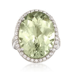 15.00 Carat Green Prasiolite and .50 ct. t.w. White Topaz Ring in Sterling Silver, , default
