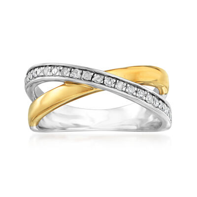 .25 ct. t.w. Diamond Crisscross Ring in Sterling Silver and 14kt Yellow Gold