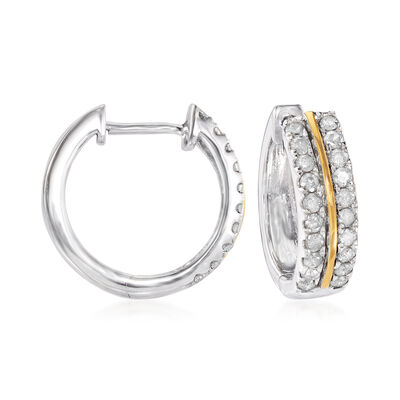 .50 ct. t.w. Diamond Hoop Earrings in Sterling Silver and 14kt Yellow Gold