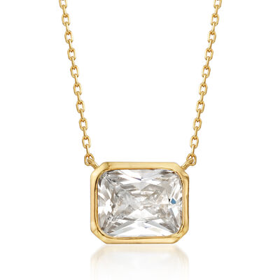 4.00 Carat Radiant-Cut CZ Solitaire Necklace in 18kt Gold Over Sterling, , default