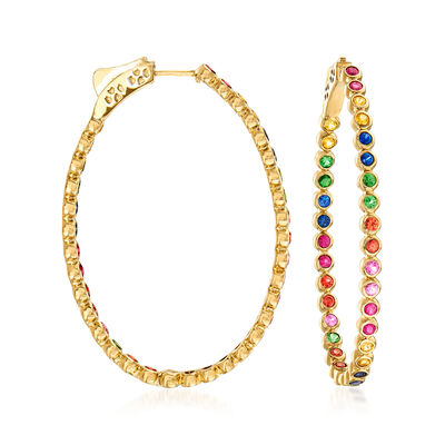 3.30 ct. t.w. Multicolored Multi-Gem Hoop Earrings in 14kt Yellow Gold
