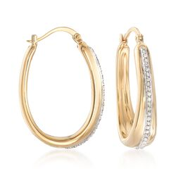 ".22 ct. t.w. Diamond-Lined Oval Hoop Earrings in 14kt Yellow Gold. 1 1/8"", , default"