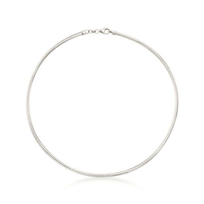 Italian 3mm Sterling Silver Round Omega Necklace, , default