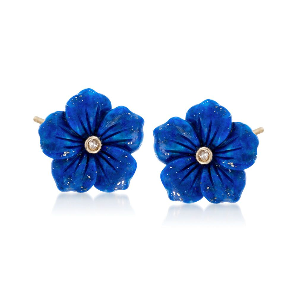 Lapis flower earrings with diamond accents in 14kt yellow gold lapis flower earrings with diamond accents in 14kt yellow gold default mightylinksfo