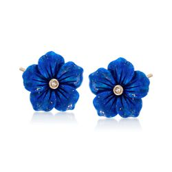 Lapis Flower Earrings With Diamond Accents in 14kt Yellow Gold, , default