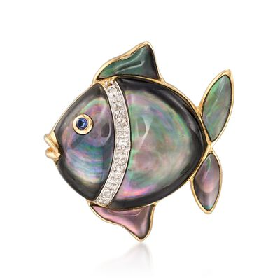 Black and White Mother-Of-Pearl Fish Pin With Multi-Stone Accents in 14kt Yellow Gold , , default