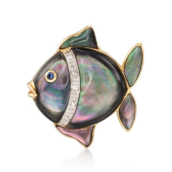 Black and White Mother-Of-Pearl Fish Pin with Multi-Stone Accents in 14kt Yellow Gold, , default