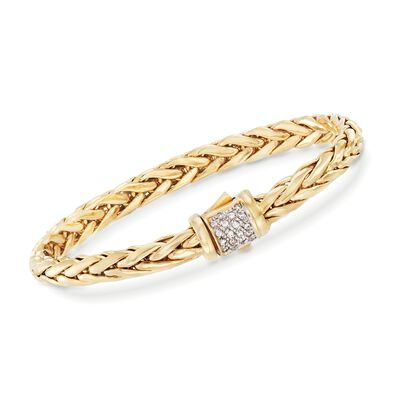 "Phillip Gavriel ""Woven Gold"" .18 ct. t.w. Pave Diamond Link Bracelet in 14kt Yellow Gold, , default"