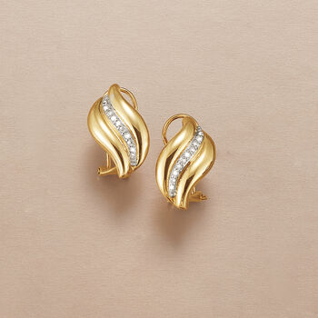 .12 ct. t.w. Diamond Wave Earrings in 14kt Yellow Gold