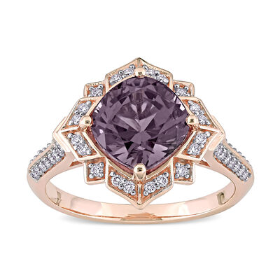 3.15 Carat Purple Spinel and .18 ct. t.w. Diamond Art Deco-Design Ring in 14kt Rose Gold