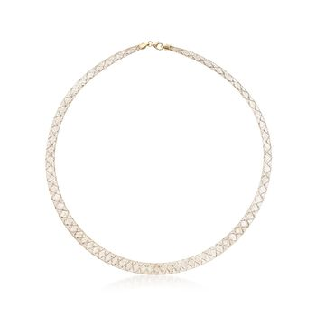 "Italian 14kt Two-Tone Gold Graduated Mesh Collar Necklace. 18"", , default"