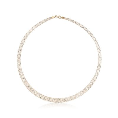 Italian 14kt Two-Tone Gold Graduated Mesh Collar Necklace, , default