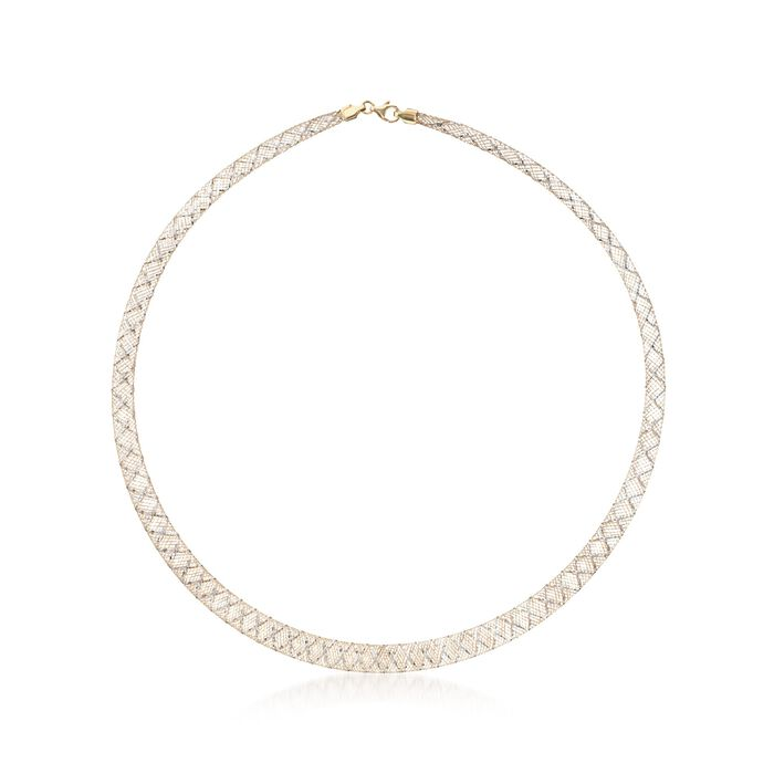 """Italian 14kt Two-Tone Gold Graduated Mesh Collar Necklace. 18"""", , default"""