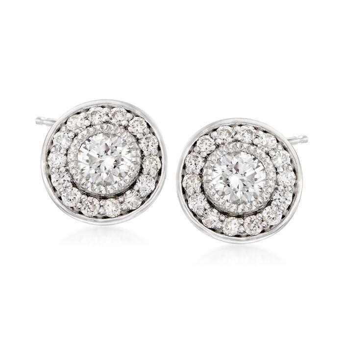 .75 ct. t.w. Diamond Halo Stud Earrings in Platinum