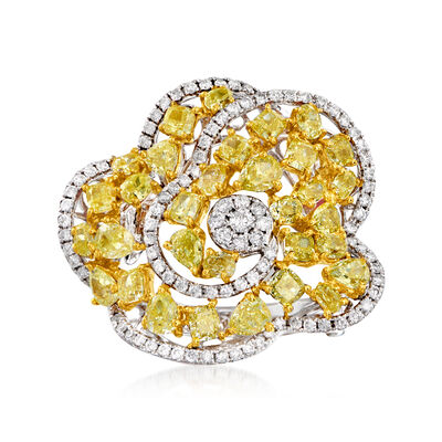 4.80 ct. t.w. Yellow and White Diamond Floral Ring in 18kt Two-Tone Gold