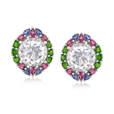 Rock Crystal and 5.50 ct. t.w. Multi-Gem Earrings in Sterling Silver, , default
