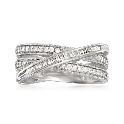.33 ct. t.w. Round and Baguette Diamond Crisscross Highway Ring in Sterling Silver, , default