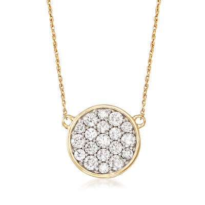 1.00 ct. t.w. Diamond Disc Necklace in 14kt Yellow Gold