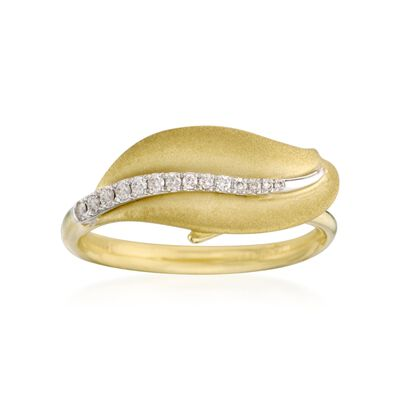 Diamond-Accented Leaf Ring in 18kt Yellow Gold