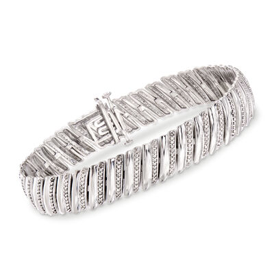 1.00 ct. t.w. Diamond Diagonal Bar Bracelet in Sterling Silver, , default