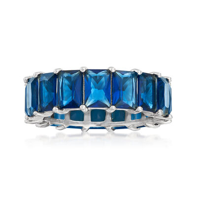 8.25 ct. t.w. Simulated Sapphire Eternity Band in Sterling Silver