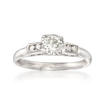 C. 1950 Vintage .56 ct. t.w. Diamond Engagement Ring in 14kt White Gold. Size 6, , default