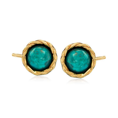 Turquoise Stud Earrings in Sterling Silver and 14kt Yellow Gold