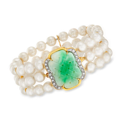 C. 1980 Vintage Jade, 6.5mm Cultured Pearl and .40 ct. t.w. Diamond Three-Row Bracelet in 14kt Yellow Gold, , default