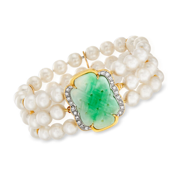 """C. 1980 Vintage Jade, 6.5mm Cultured Pearl and .40 ct. t.w. Diamond Three-Row Bracelet in 14kt Yellow Gold. 6.5"""""""