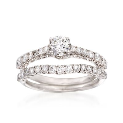 1.16 ct. t.w. Diamond Bridal Set: Engagement and Wedding Rings in 14kt White Gold