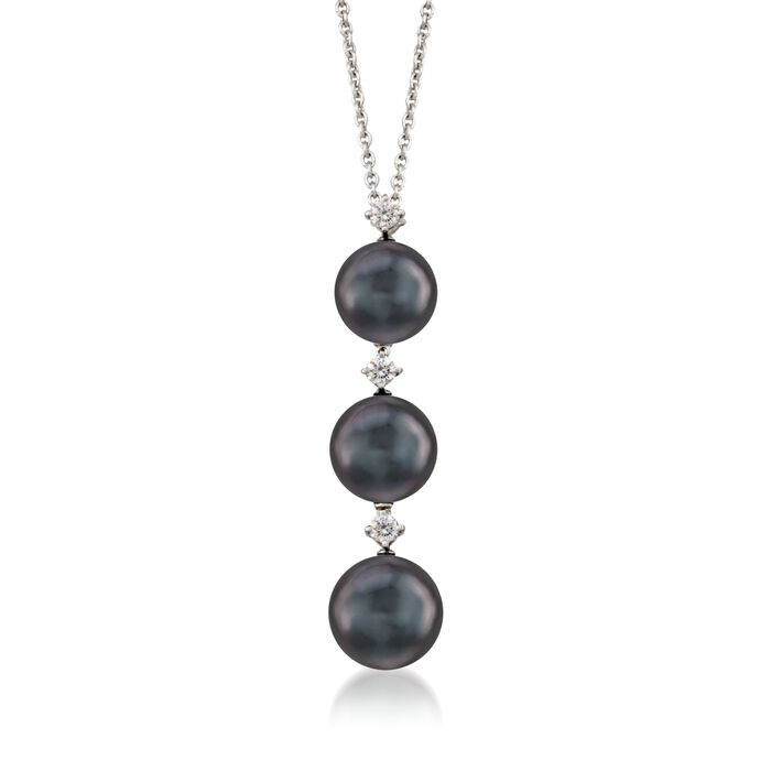 "Mikimoto 8-9mm Black South Sea Pearl Necklace with .13 ct .t.w. Diamonds in 18kt White Gold. 16"", , default"