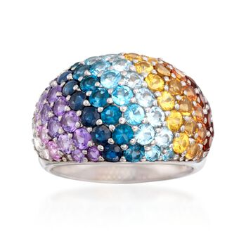 4.50 ct. t.w. Multi-Stone Rainbow Dome Ring in Sterling Silver, , default