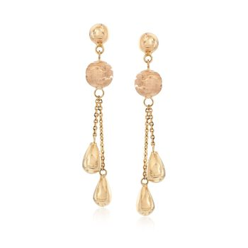 Italian 14kt Yellow Gold Round and Pear-Shaped Bead Drop Earrings, , default