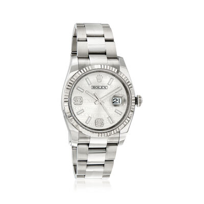 Pre-Owned Rolex Datejust Men's 36mm Automatic Stainless Steel Watch with 18kt White Gold, , default