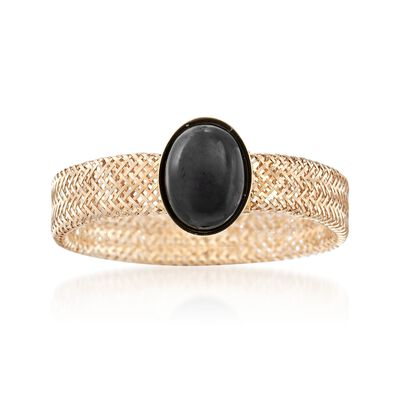 Italian Black Onyx Mesh Stretch Ring in 14kt Yellow Gold