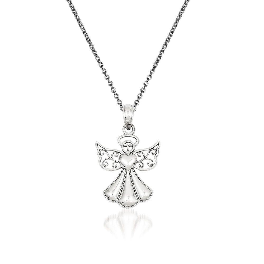 14kt white gold guardian angel pendant necklace 18 ross simons 14kt white gold guardian angel pendant necklace 18quot default aloadofball Image collections