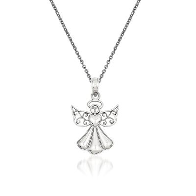 14kt White Gold Guardian Angel Pendant Necklace, , default