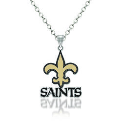 "Sterling Silver NFL New Orleans Saints Enamel Pendant Necklace. 18"", , default"