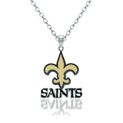 """Sterling Silver NFL New Orleans Saints Enamel Pendant Necklace. 18"""", , default"""