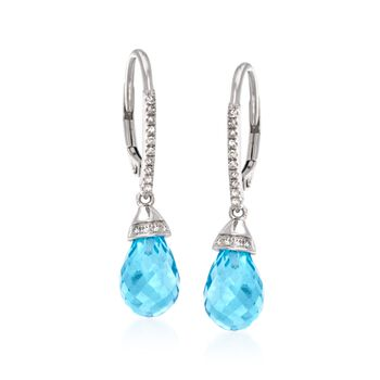 "8.45 ct. t.w. Blue Topaz and .14 ct. t.w. Diamond Drop Earrings in 14kt White Gold. 1 1/8"", , default"