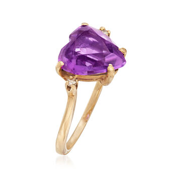 C. 1970 Vintage 2.75 Carat Amethyst Heart Ring With Diamond Accents in 14kt Yellow Gold. Size 6, , default