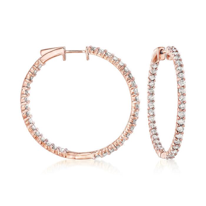 "3.00 ct. t.w. Diamond Inside-Outside Hoop Earrings in 18kt Rose Gold Over Sterling. 1 3/8""., , default"