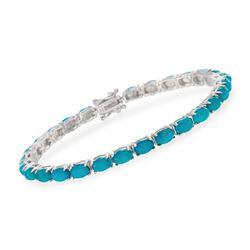 Blue Opal Line Bracelet in Sterling Silver, , default