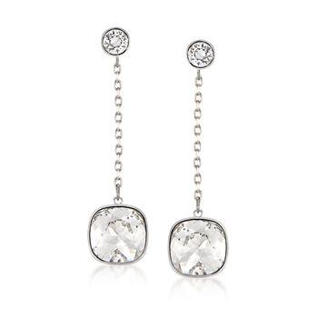 "Swarovski Crystal ""Latitude"" Clear Crystal Drop Earrings in Silvertone , , default"