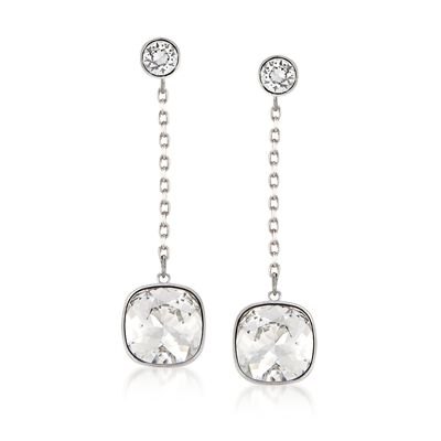 "Swarovski Crystal ""Latitude"" Clear Crystal Drop Earrings in Silvertone, , default"