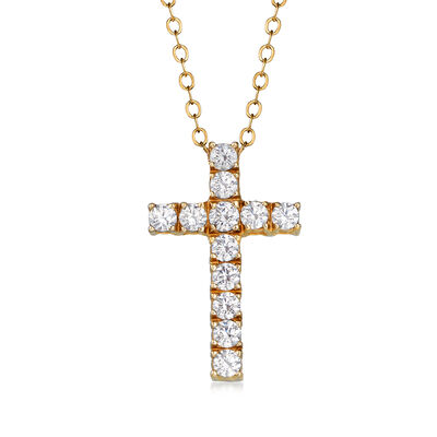 C. 1990 Vintage .60 ct. t.w. CZ Cross Pendant Necklace in 14kt Yellow Gold, , default