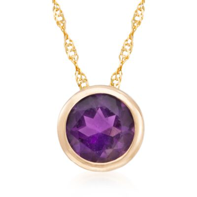 .70 Carat Bezel-Set Amethyst Pendant Necklace in 14kt Yellow Gold, , default