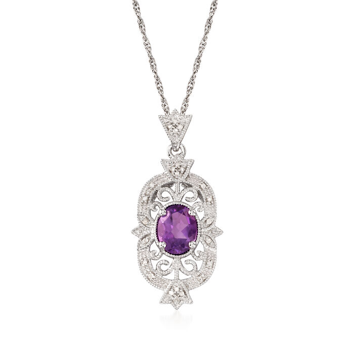 1.60 Carat Amethyst and .12 ct. t.w. Diamond Filigree Pendant Necklace in Sterling Silver, , default