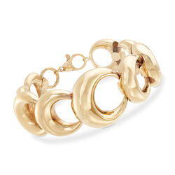 Italian 18kt Yellow Gold Open Circle-Link Bracelet, , default
